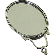 Sterling Silver Oval Purse Double Side Mirror with Harp Shape Handle