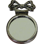 Sterling Silver Oval Purse Mirror with Hinged Bow Handle