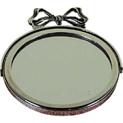 Sterling Silver Oval Purse Mirror with Swinging Handle Bow