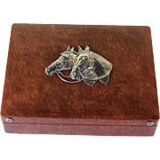 Leather Cigar Box with Sterling Horse Heads