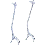 Pair of  Silver Giraffe Champagne Whisk or Long Drink Stirrers