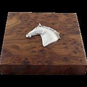 Precious Walnut Wood Desk Box with Sterling Silver Horse-Head