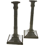 Pair Sterling Silver Candlesticks Reeds