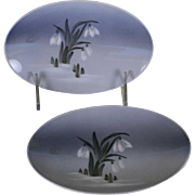 Pair Oval Ash Tray  Blue and Flower  Decoration