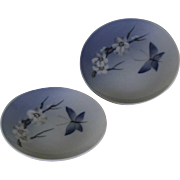 Pair Round Ash Tray with Blue and Flower  Decoration