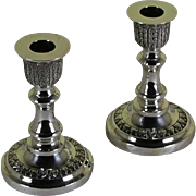 Pair Sterling Silver Candlesticks Chased