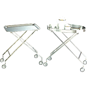 Collapsible Silver Stand On Wheel, Trays Sold Separately