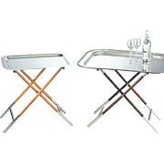 Collapsible Silver & Wood Stand  with Tray