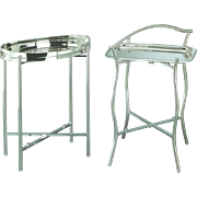 Collapsible Silver Stand & Two Round Trays
