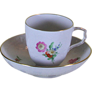 Collector's Mocha Cup & Saucer, Gold Rim and Multi Color Meadow Flowers