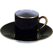 Collector's Demitasse Cup & Saucer Cobalt with Gold Rim