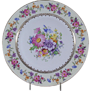 Cheerful Collectors Cabinet Plate Gold Rim & Rich Floral Design