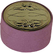 Small Round Jewelry Box Pink with Chased Sterling Silver