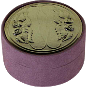 Medium Round Pink Jewelry Box with Chased Sterling Silver