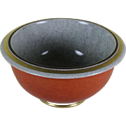 Round Bowl Grey, Red & Gold, Craquelé