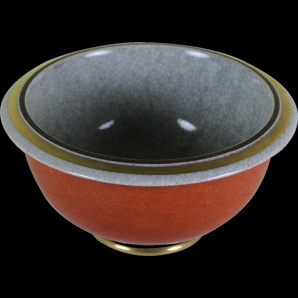 Round Bowl Grey, Red & Gold, Craquelé