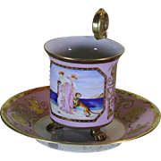Collectors Cup & Saucers Marie Antoinette Pink fond Painted with Figures