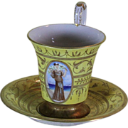 Collectors Cup & Saucer with Yellow fond with Rich Gold Decoration and Medallion Painting