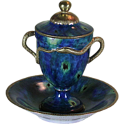 Collectors Serpent Cup with Lid & Saucer, Marbled Green with Gold Decoration