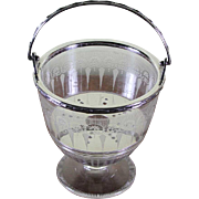 Charming Small Silver & Glass Ice Pail with Swinging Handle