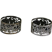 Pair Sterling Silver Oval Chased & Pierced Napkin Ring