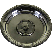 Sterling Silver Round Plate with King Fouad Sterling Coin