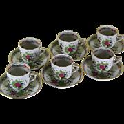 Exquisite Set of 6 Vintage Demi-Tasse & Saucer Hand-Painted with Fleurs des Indes