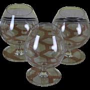 Vintage Set of 3 Orrefors Brandy Glass, Ballon