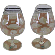 Rare Vintage Orrefors Pair of Brandy Glass, Frosted Edge & Base