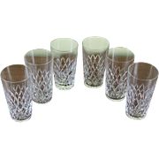 Superb Tumblers or Scotch-Whisky Glasses, Set of 6 Diamond Cut