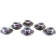 Collectors Set of 6 Coffee Cup & Saucer, Floral Motif by Royal Copenhagen