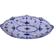 Collectors Ravier or Pickle Dish Underglaze Blue Decoration Full Lace, Pierced Border