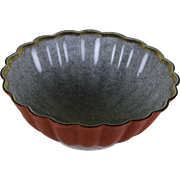 Round Fluted Bowl Grey, Red & Gold , Craquelé