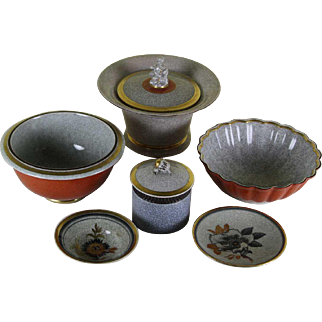 Collector's Set of 6 Pc Royal Copenhagen , Craquelé