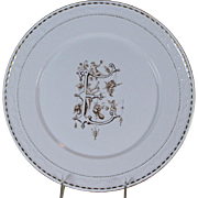 Hand-Painted Large Dinner Plate,  Renaissance Monogram E