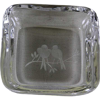 Ash Tray with Engraved Birds, Orrefors
