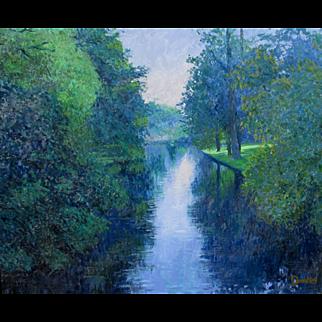 WILLIAM DONAT,  Monet's Garden, oil, silver leaf frame; Provenance: Cambridge Art Gallery