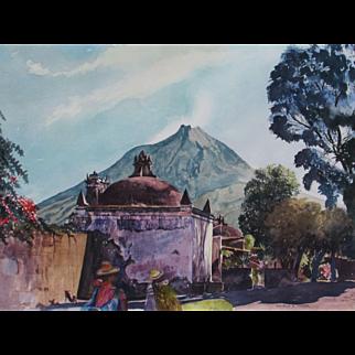 MATTHEW ROBERT LEIZER, Architect & artist,  Peruvian Scene with Temple, watercolor