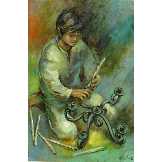 GEORGE MICHAUD, Listed, Latin American Boy putting Candles in a Candelabra, oil