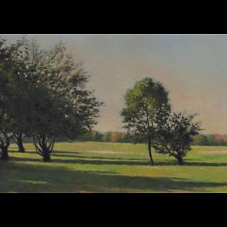 JOHN FOLCHI, New York Artist, Hudson Valley Landscape w Trees & Shrubs, oil