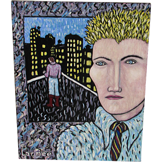 KEVIN LARMEE, Listed NY Modernist, Man on a Roof w/figure, New York City, oil