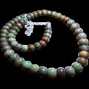 Green, Brown Ethiopian Welo Opal Necklace