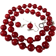 Enhanced Dark Red, Real Deep Sea Coral, Necklace, Earrings