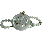 Natural Jadeite Pendant And Bead Necklace, Earrings