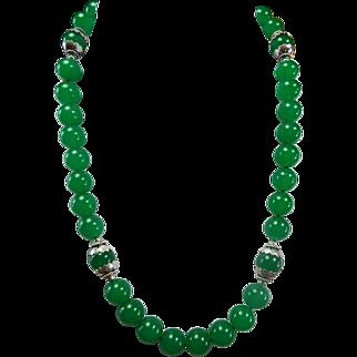 Necklace, Part Of Translucent  Apple Green Jadeite set