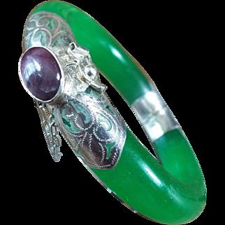 Vintage Translucent Bangle Part, Of Apple Green Jadeite Set