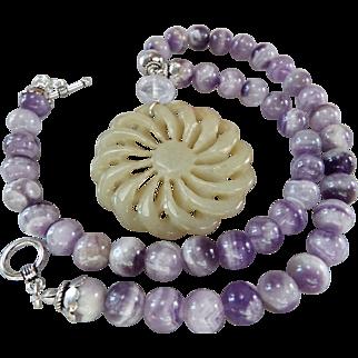 Vintage Jade Handcarved Pendant., Cape Amethyst Beads, Plus Earrings