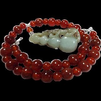 Red Carnelian, Vintage Handcarved Jade Lion On Gourd, Necklace Plus Earrings