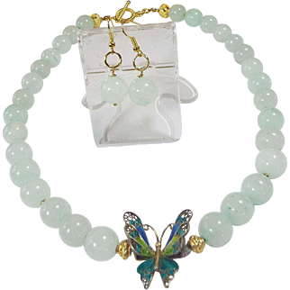 Vintage Chinese, Gold Gilt Enamel, Filigree Butterfly Pendant, Large blue Jade beads, Earrings