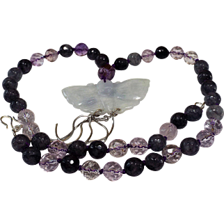 Blue Jadeite Butterfly Pendant, Labradorite beads, amethyst  Color Glass beads, Necklace, Earrings